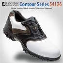 Contour Series 54126 Men's White Smooth/ Black Smooth/ Distressed Charcoal Golf Shoes - 7.5 Medium